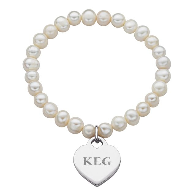 Fresh Water Pearl Stretch Bracelet with Engraved Initial Heart Charm