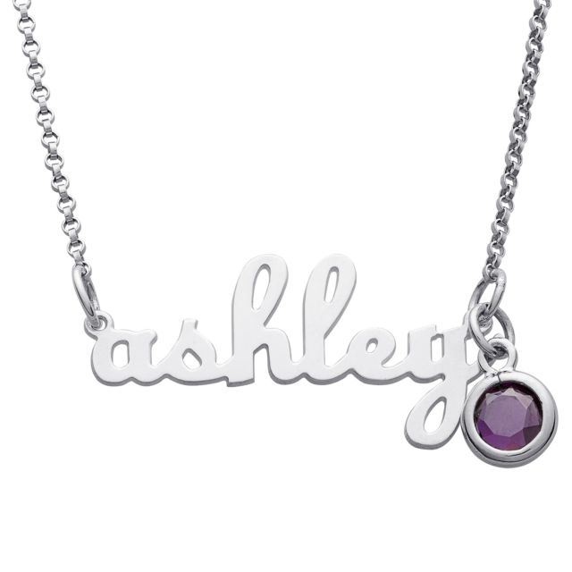 Sterling Silver Script Lowercase Name Necklace with Birthstone charm