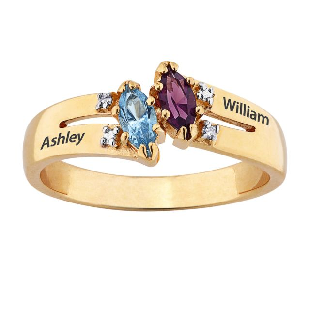 Gold over Sterling Couples Marquise Name and Birthstone Ring with Diamonds