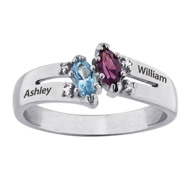 Sterling Silver Couples Marquise Name and Birthstone Ring with Diamonds