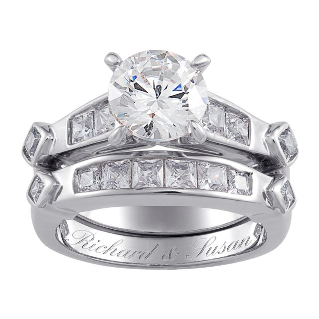 Sterling Silver 2-Piece CZ Engraved Wedding Ring Set