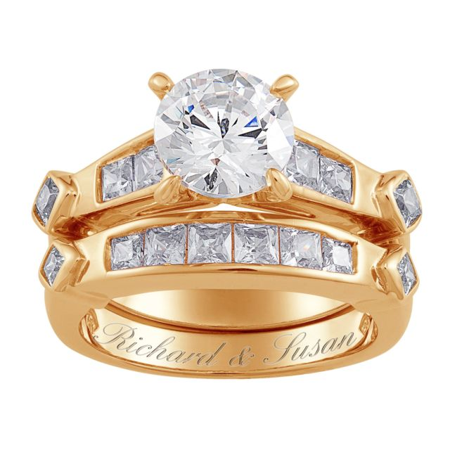 Gold Over Sterling 2-Piece CZ Engraved Wedding Ring Set