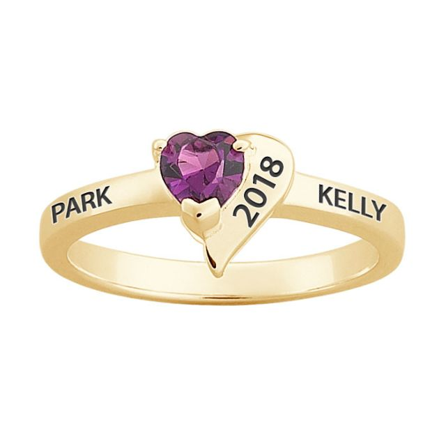 Gold over Sterling Freestyle Crystal Heart Birthstone Ring