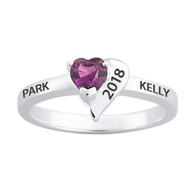 Sterling Silver Freestyle Crystal Heart Birthstone Ring