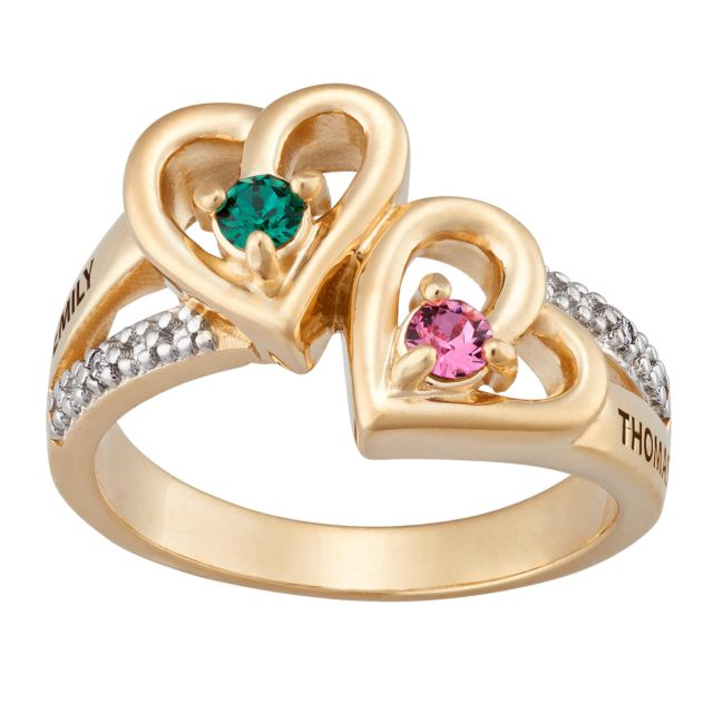 Couples Name and Birthstone Hearts Ring with Diamond Accent