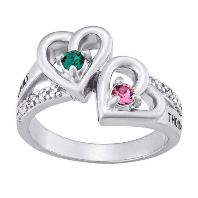 Silver Plated Couples Birthstone Hearts Name Ring with Diamond Accent