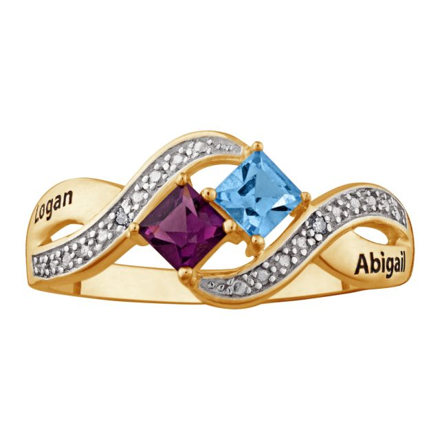 14K Gold over Sterling Couple's Princess-cut Birthstone Ring with Diamonds