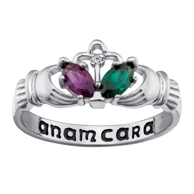 Sterling Silver Couple's Birthstone and Genuine Diamond Claddagh Ring