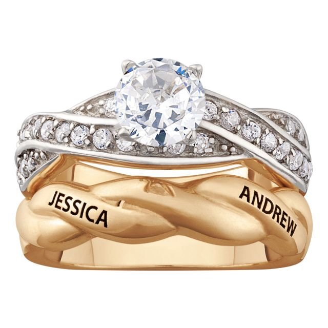 14K Gold over Sterling Engraved Round CZ 2-Piece Wedding Ring Set