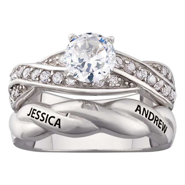 Sterling Silver Engraved Round CZ 2 Piece Wedding Ring Set