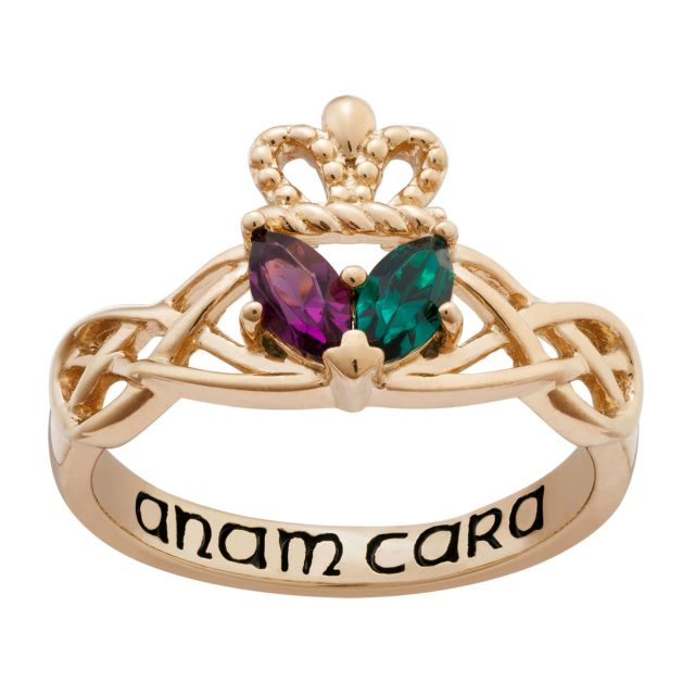 14K Gold over Sterling Couples Marquise Birthstone Celtic Knot Claddagh Ring