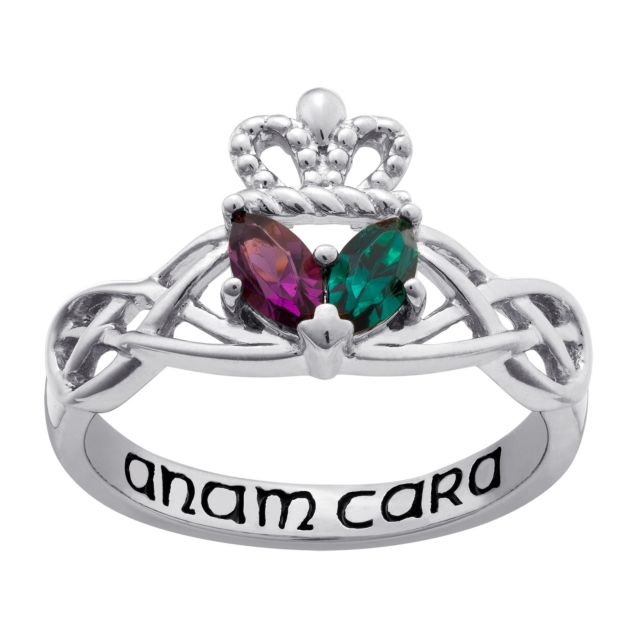 Sterling Silver Couples Marquise Birthstone Claddagh Celtic Knot Ring