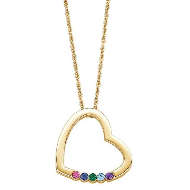 Gold over Sterling Mother's Birthstone Heart Pendant