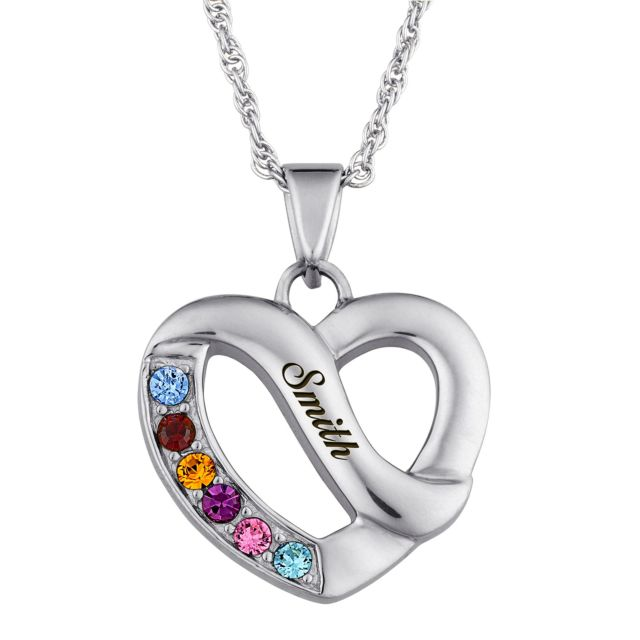 Silvertone Family Name & Birthstone Heart Necklace