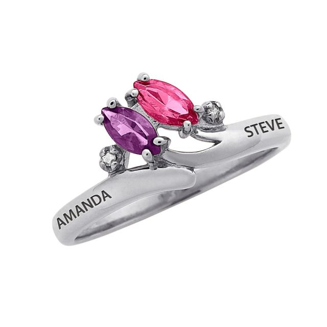 Sterling Silver Couple's Name & Birthstone Ring with Diamond Accent
