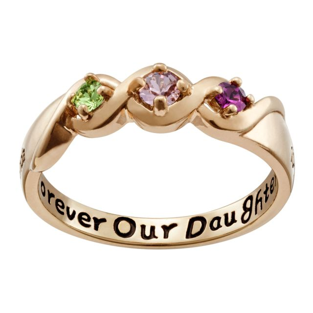 Gold over Sterling Daughters Name & Date Birthstone Ring