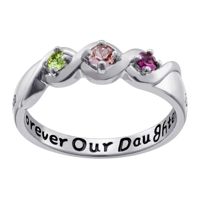 SterlingPLUS Platinum Over Sterling Daughters Name & Date Birthstone Ring