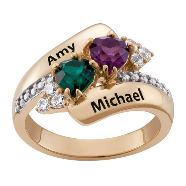 Gold over Sterling Couples Crystal Heart Name and Birthstone Ring