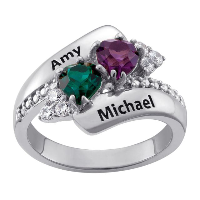 Sterling Silver Couples Crystal Heart Birthstone Name Ring
