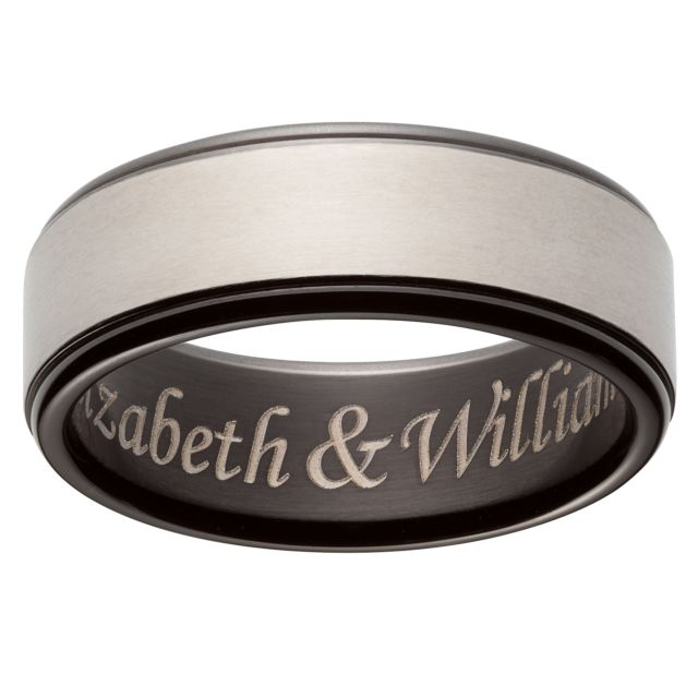 Titanium Two-Tone Engraved Message Band