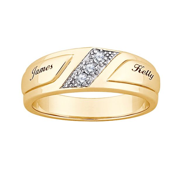 18K Gold over Sterling CZ & Top-Engraved Name Wide Wedding Band