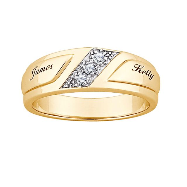 Gold over Sterling Wide CZ Wedding Name Band