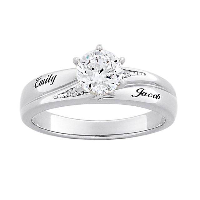 Sterling Silver Brilliant CZ and Diamond Name Wedding Ring