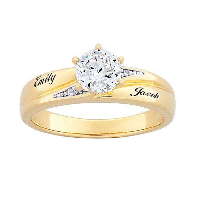 Gold over Sterling Brilliant CZ and Diamond Name Wedding Ring