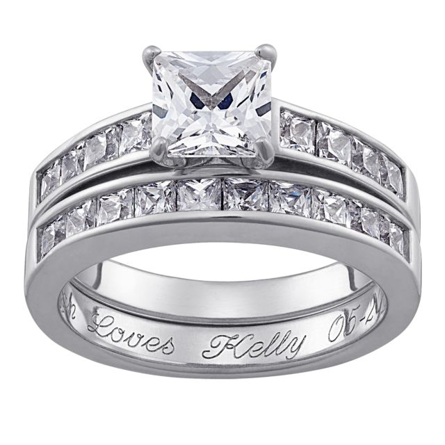 Sterling Silver Square CZ 2 Piece Engraved Wedding Ring Set