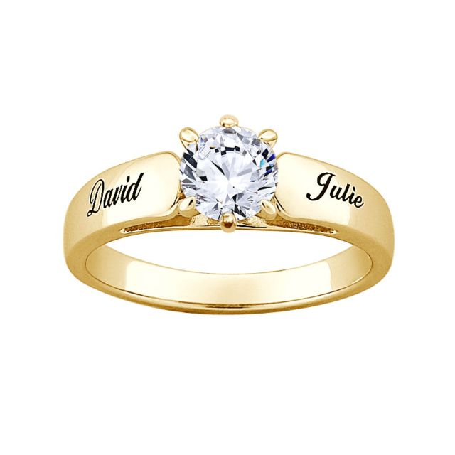Gold over Sterling Round CZ Personalized Engraved Engagement Ring