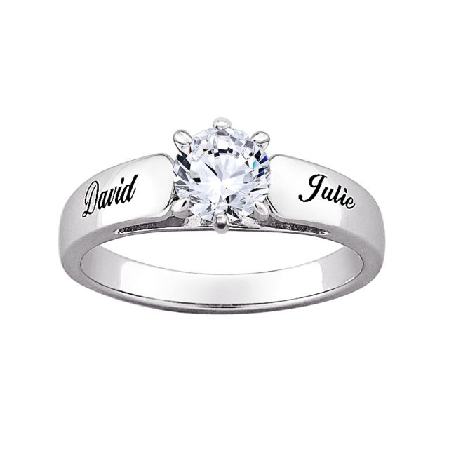 Sterling Silver Round CZ Personalized Engraved Engagement Ring