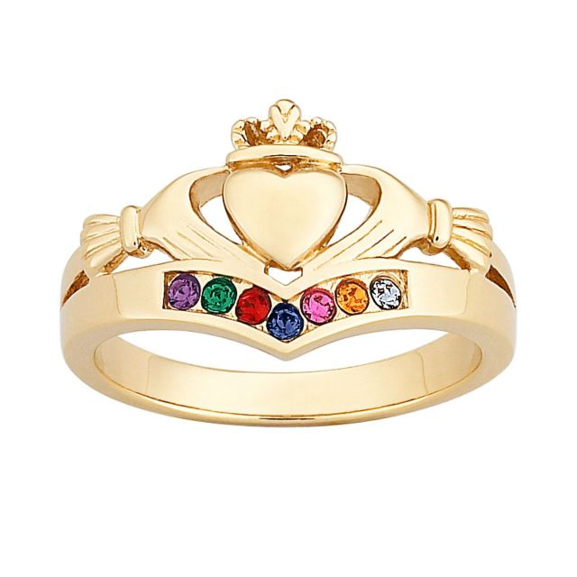 Gold over Sterling Family Birthstones Claddagh Ring