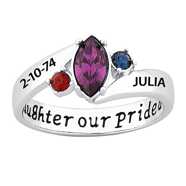 Sterling Silver Our Daughter Our Pride Birthstone & Name Ring