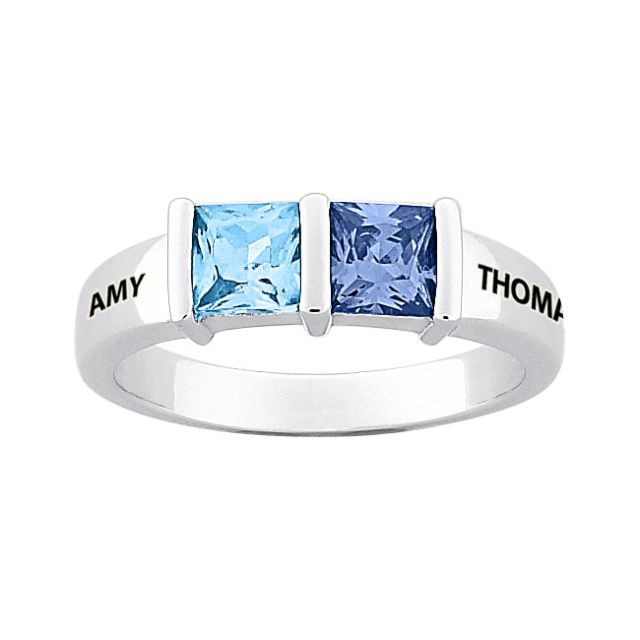 Sterling Silver Couple's Square Birthstone Name Ring