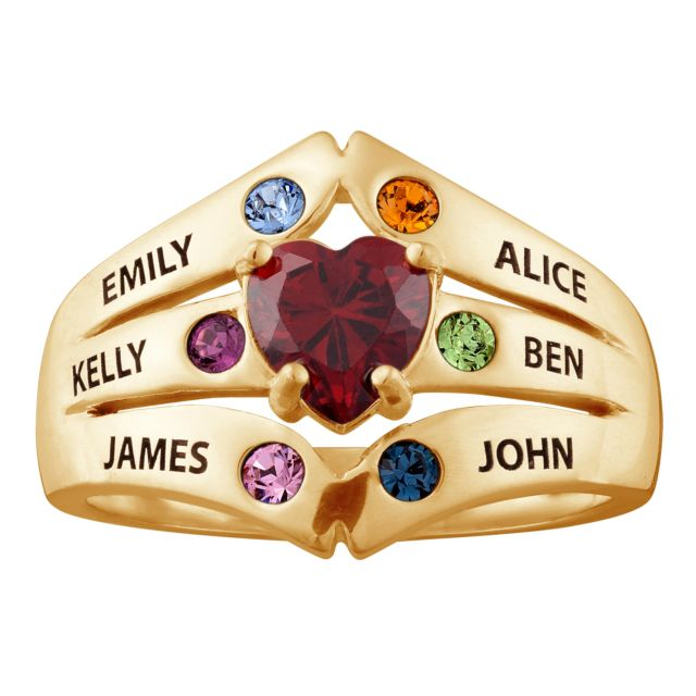 Gold over Sterling Mother's Heart Birthstone Family Name Ring