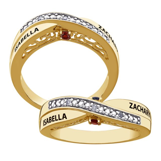 SECRET EXPRESSIONS Gold over Sterling Couple's Genuine Birthstone & Name Diamond Ring