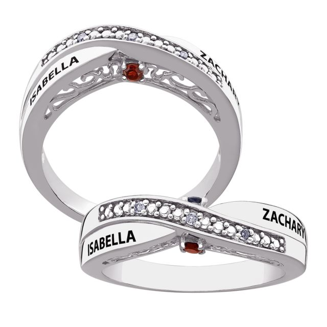 SECRET EXPRESSIONS Sterling Silver Couple's Genuine Birthstone & Name Diamond Promise Ring