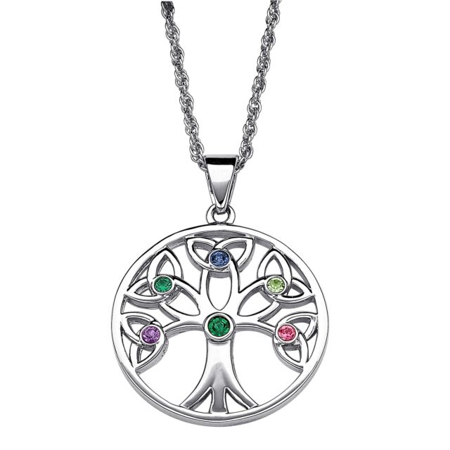 Platinum Plated Family Birthstone Tree of Life Necklace