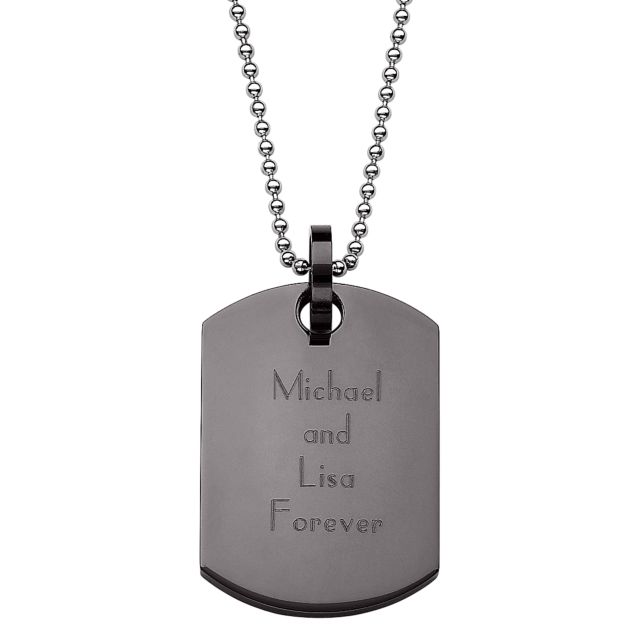 Black Stainless Steel Engraved Dog Tag Necklace