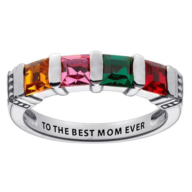 Sterling Silver Square Birthstone Ring - 4 Stones