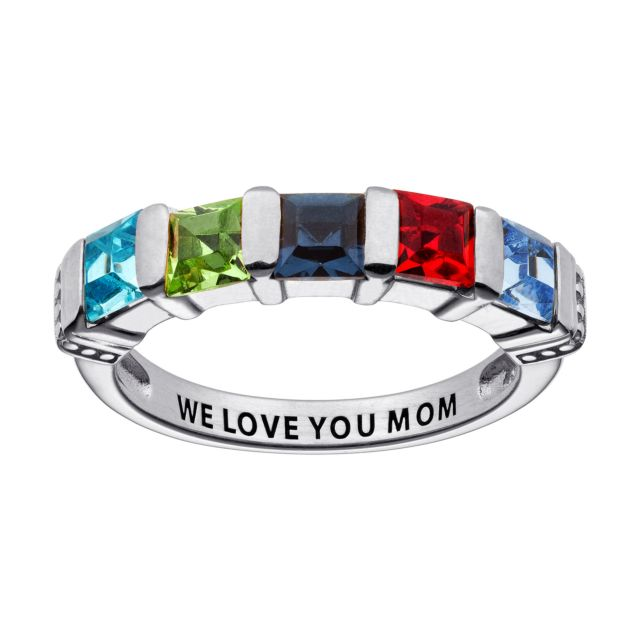 Sterling Silver Square Birthstone Ring - 5 Stones