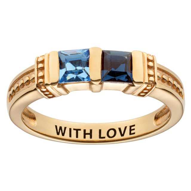 Gold over Sterling Square Mother's Birthstone Ring - 2 Stones