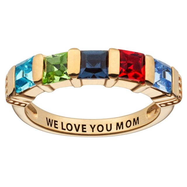 14K Gold over Sterling Square Mother's Birthstone Ring - 5 Stones