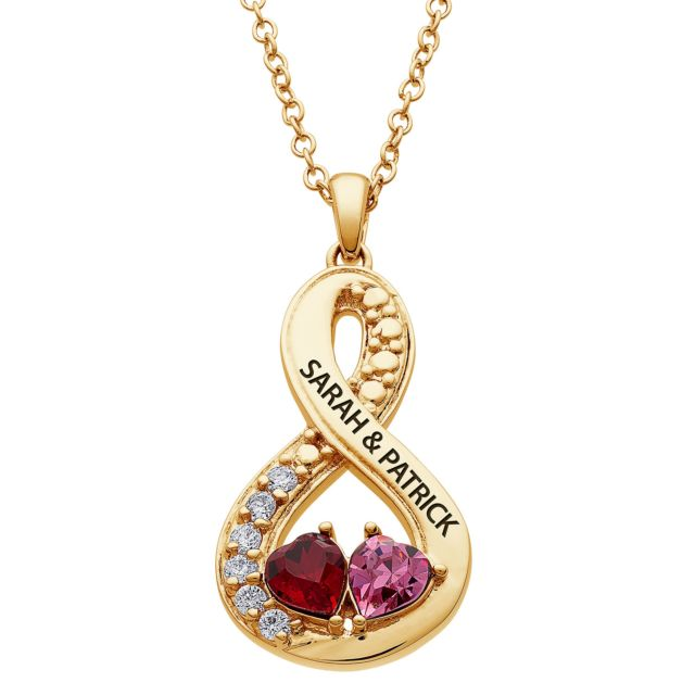 Gold Plated Couples Engraved Hearts Birthstone Eternity pendant
