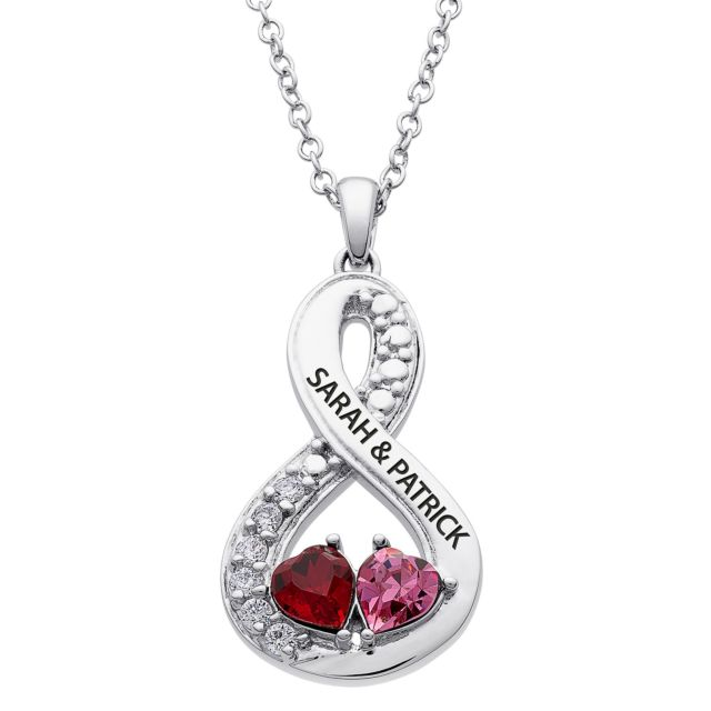 Rhodium Plated Couples Engraved Hearts Birthstone Eternity pendant