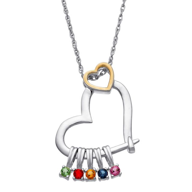 Sterling Silver Two-Tone Family Double Heart Slider Charm Pendant