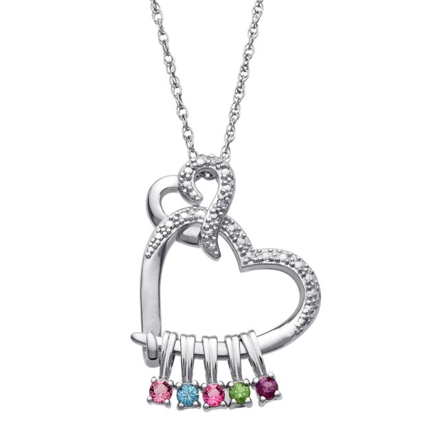 Sterling Silver Double Heart Slider Charm Pendant with Diamond