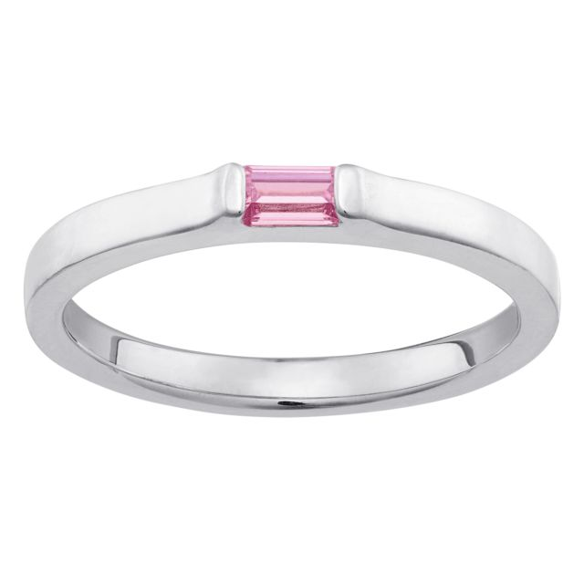 Sterling Silver Stackable Baguette Birthstone ring