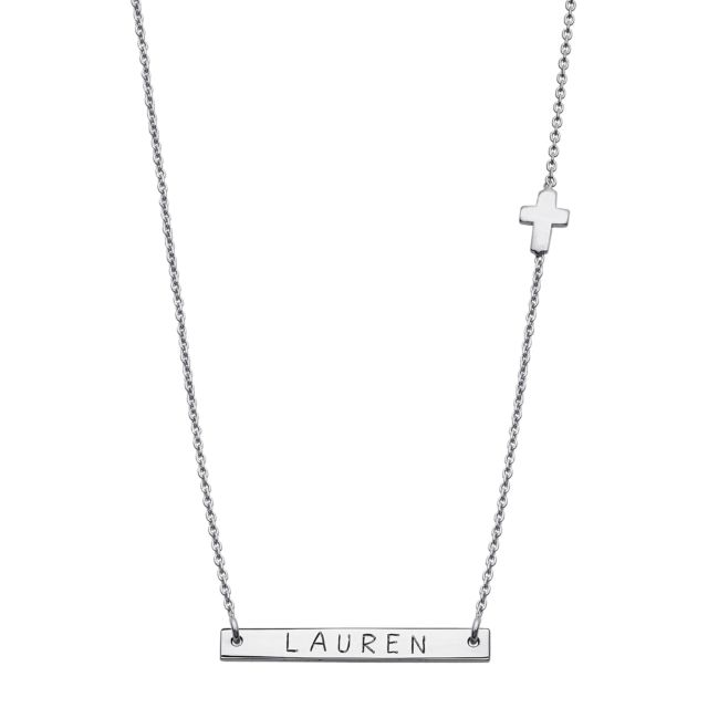 Sterling Silver Mini Bar Name with Cross Necklace
