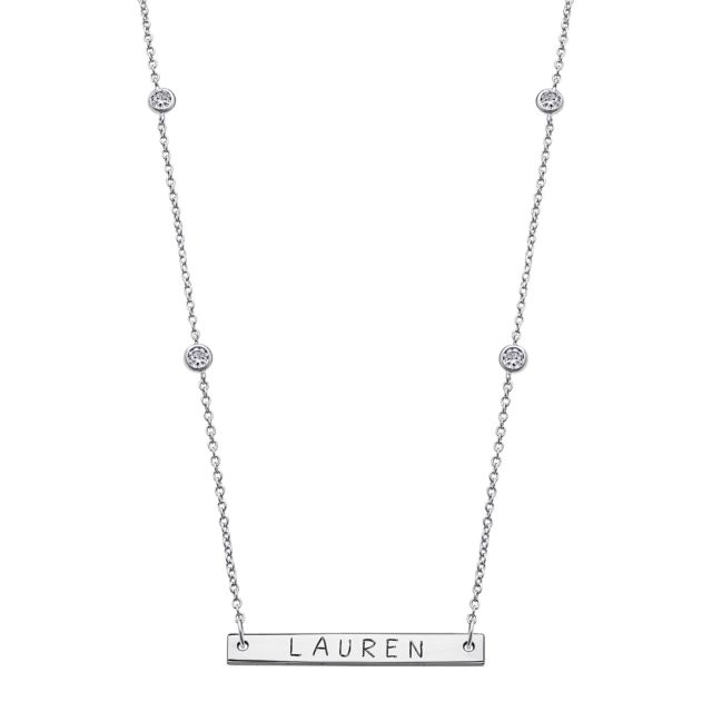 Sterling Silver Mini Bar Name with CZ Necklace
